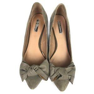 Zara | Suede Wedge Heel Leather Bow Detail
